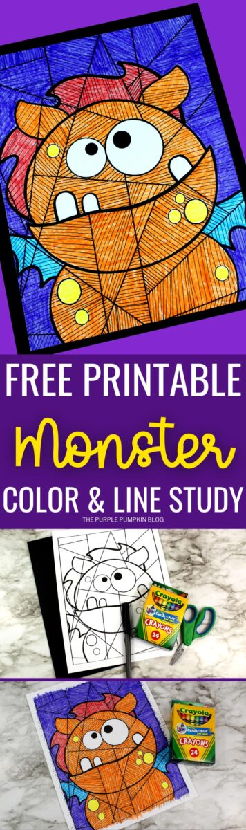 Free Printable Coloring Sheet & Line Study - Orange Monster