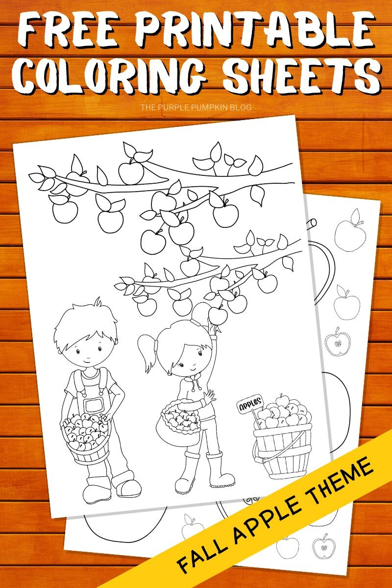 Free Printable Coloring Sheets - Fall Apple Theme