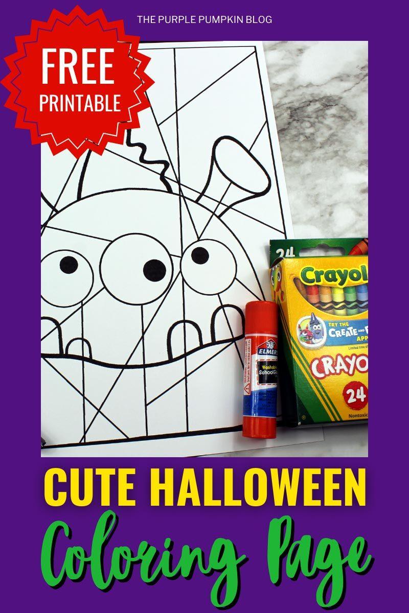 Free Printable Cute Halloween Coloring Page - Alien