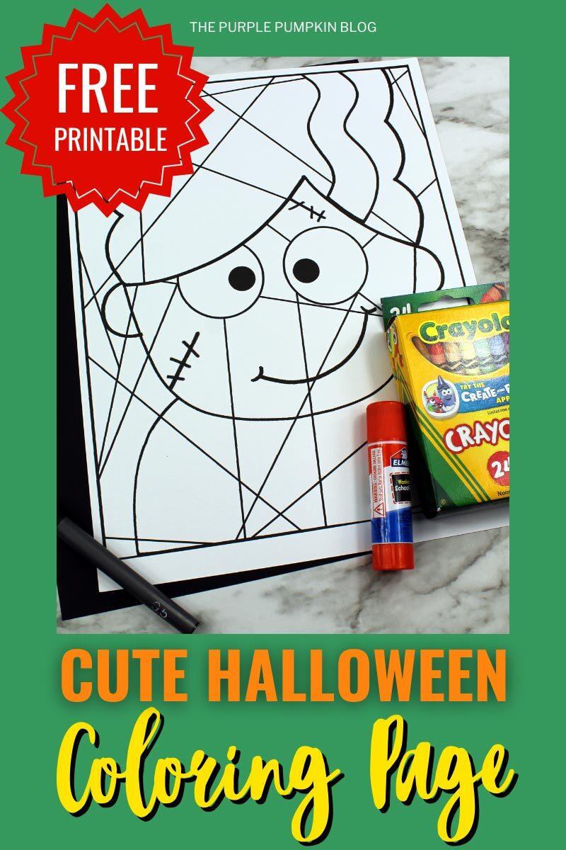 Free Printable Cute Halloween Coloring Page - Bride of Frankenstein