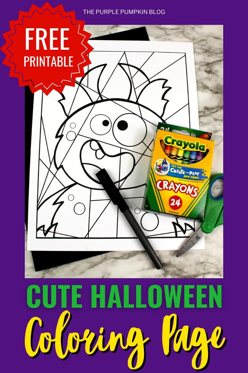 Free Printable Cute Halloween Coloring Page - Horned Monster