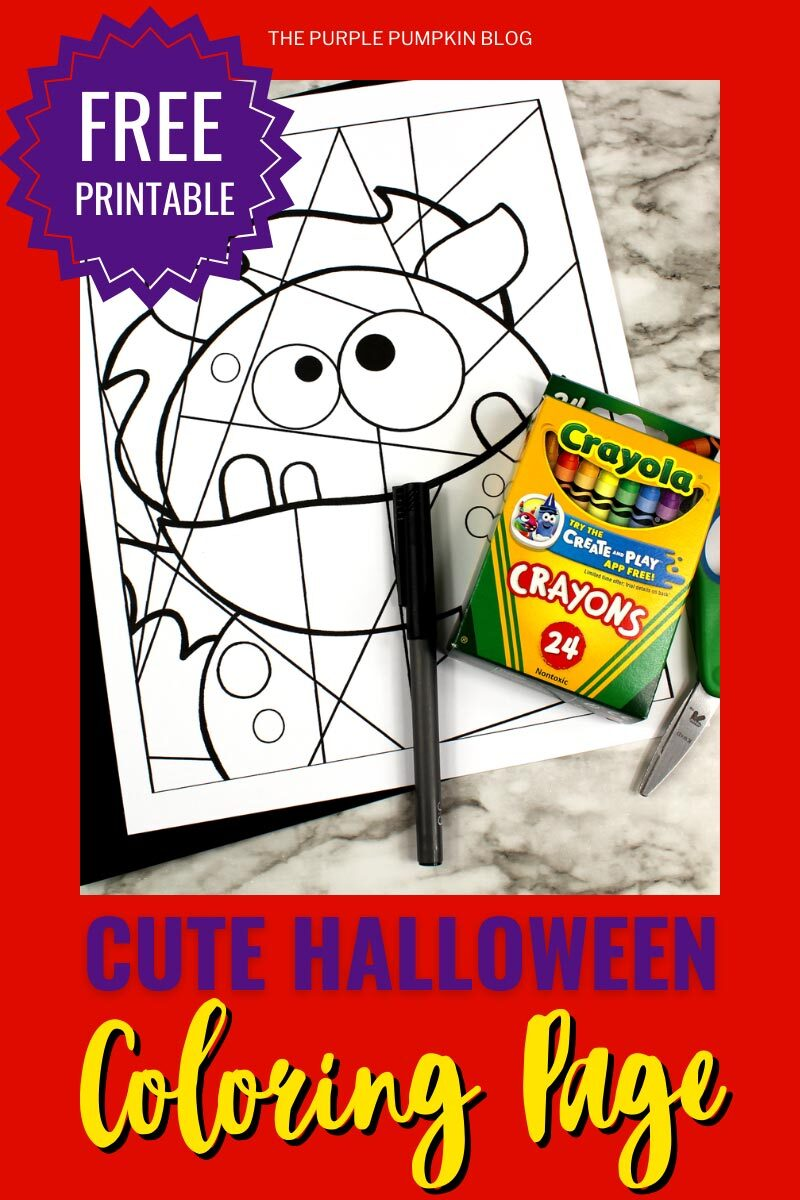 Free Printable Cute Halloween Coloring Page - Winged Monster