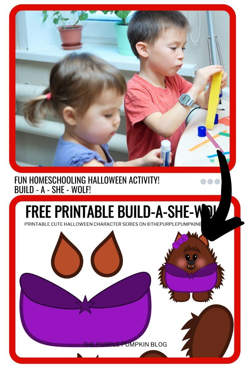 Fun Homeschooling Halloween Activity - Build a She-Wolf