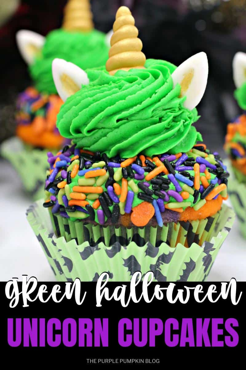 Green-Halloween-Unicorn-Cupcakes-with-Sprinkles
