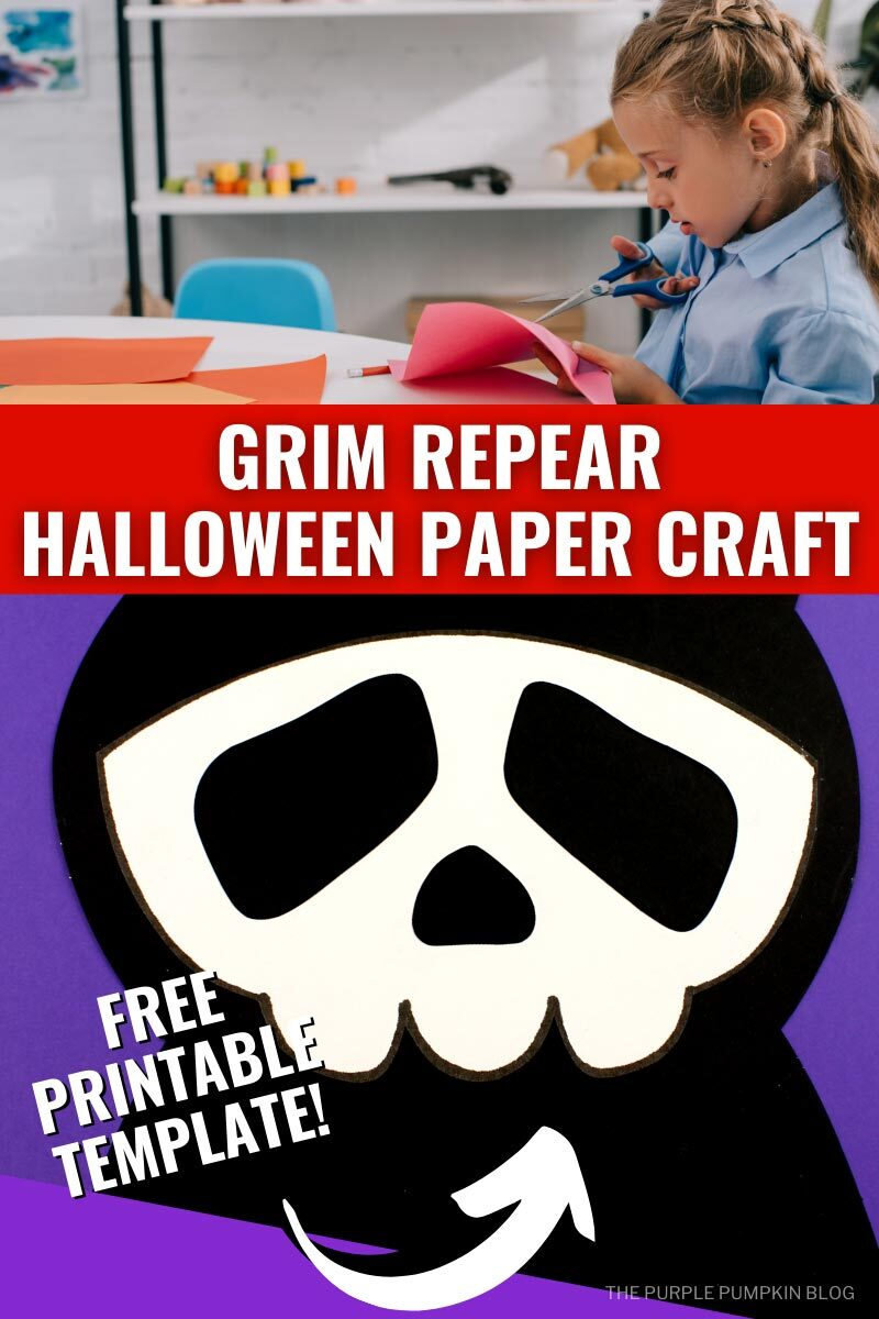 Grim Reaper Halloween Paper Craft with Free Printable Template