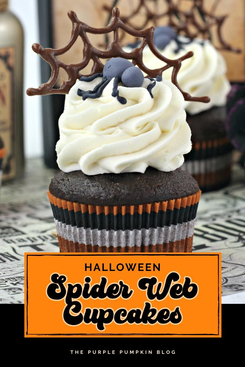 Halloween Chocolate Spider Web Cupcakes
