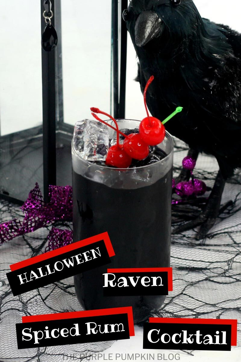 Halloween Raven Spiced Rum Cocktail