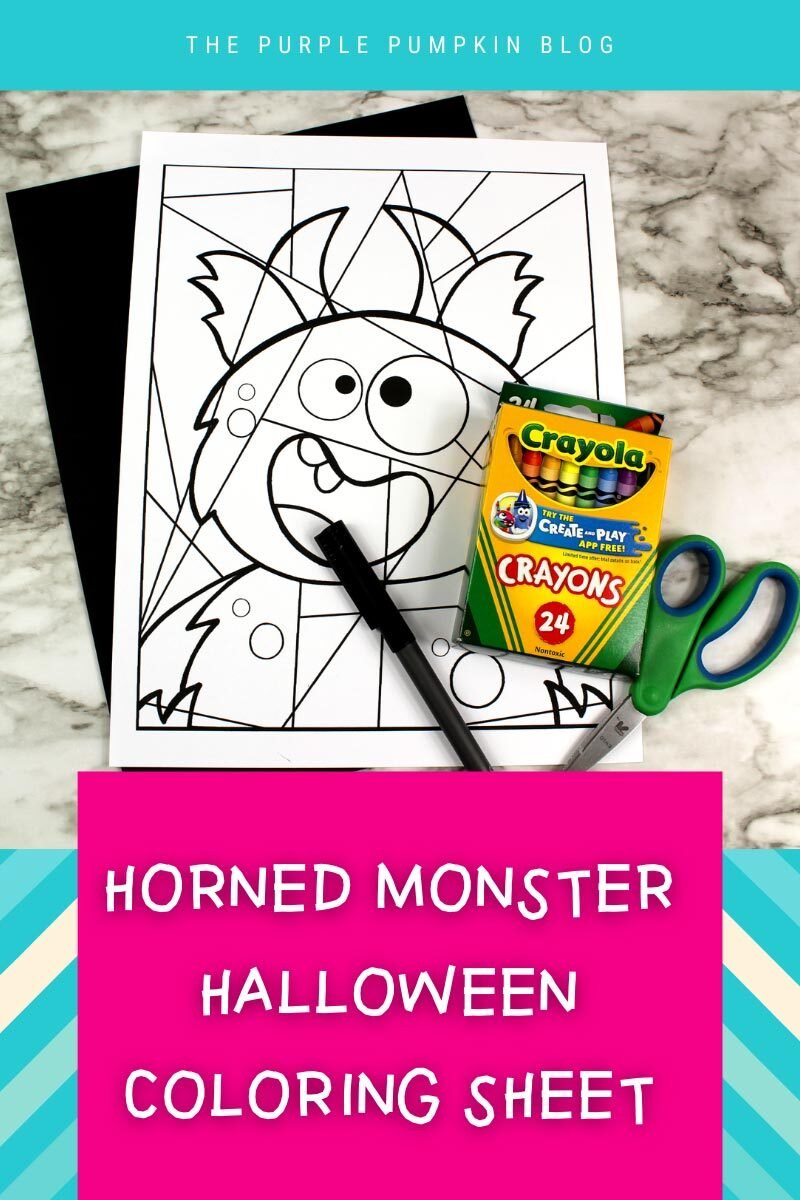 Horned Monster Halloween Coloring Sheet