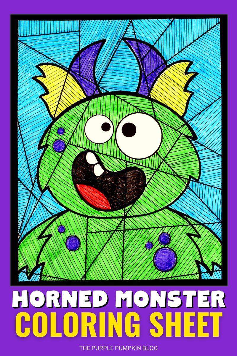 Horned Monster Coloring Sheet