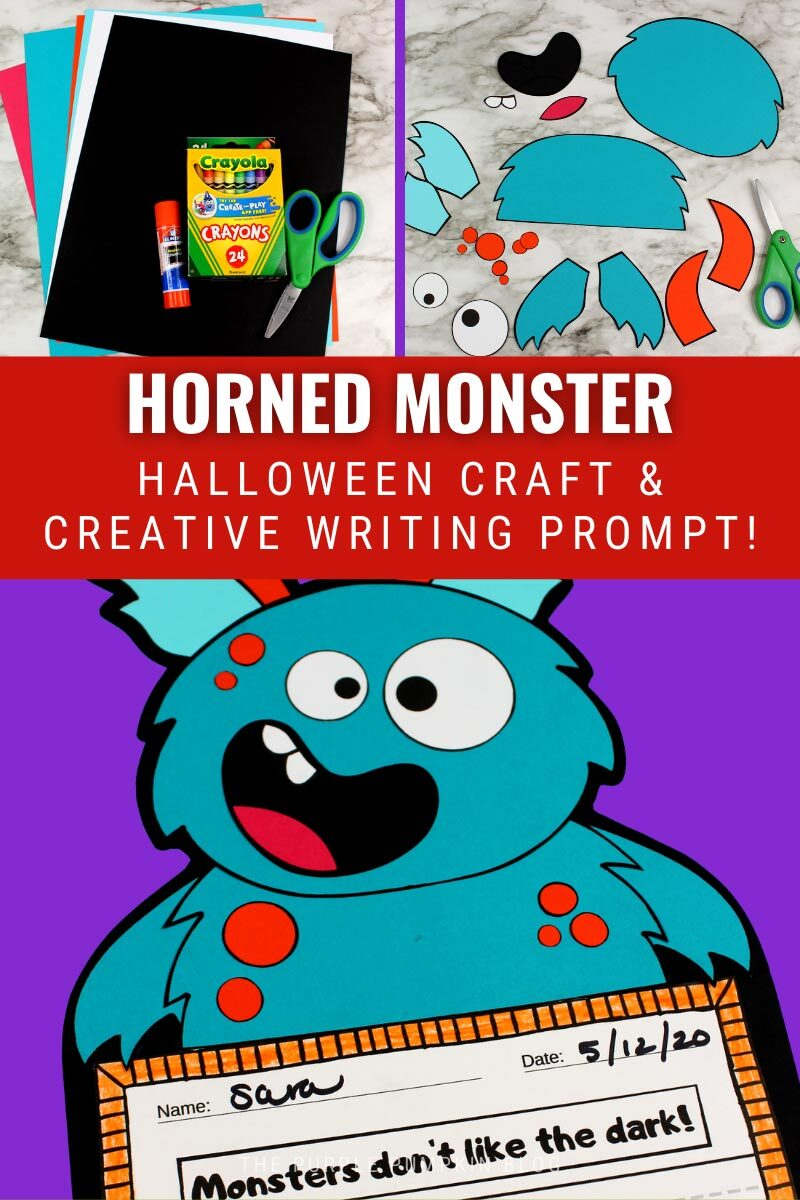 Horned Monster Halloween Craft & Creative Writing Prompt