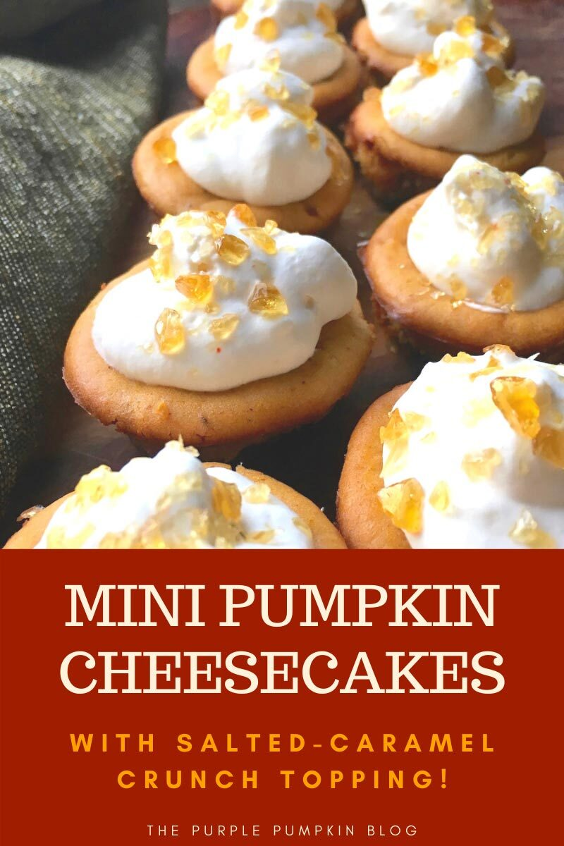 Mini Pumpkin Cheesecakes with a Salted-Caramel Crunchy Topping