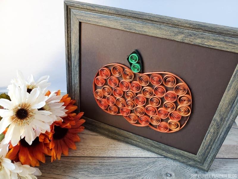 Paper Quill Pumpkin in Frame