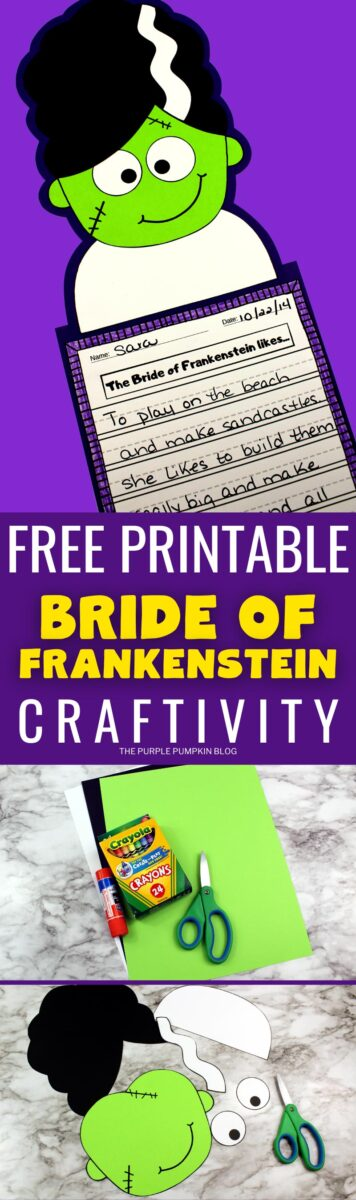 Bride of Frankenstein Paper Craft with Free Printable Template