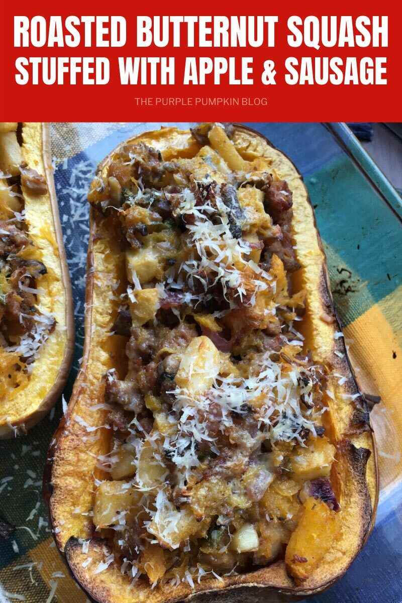 Roasted Butternut Squash Stuffed with Apple & Sausage