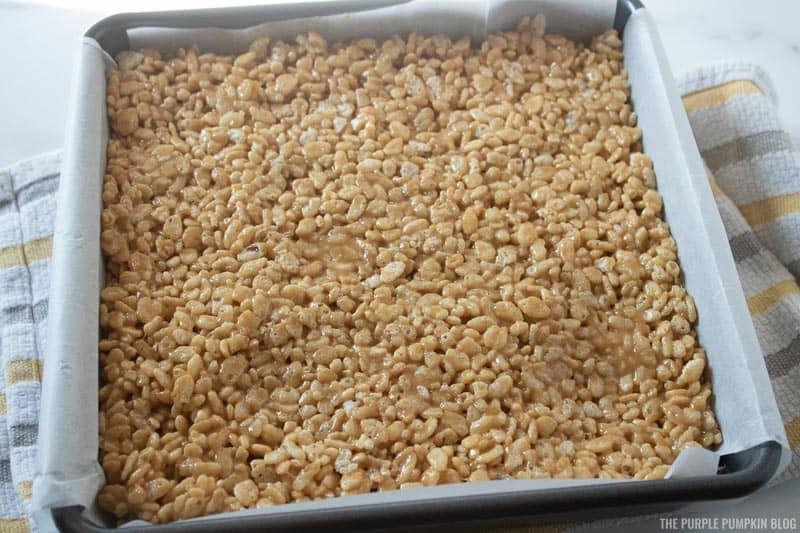 Rice Krispies mix spread in baking pan