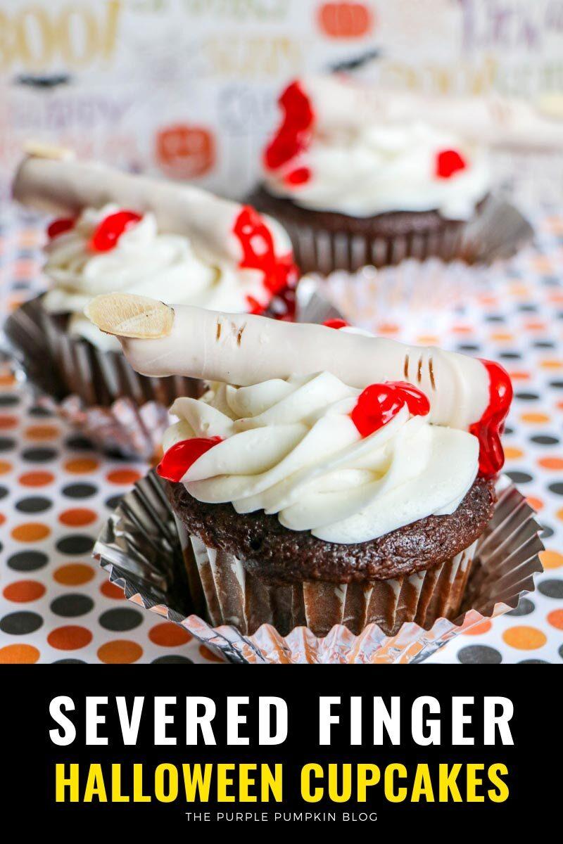 Severed Finger Halloween Cupcakes