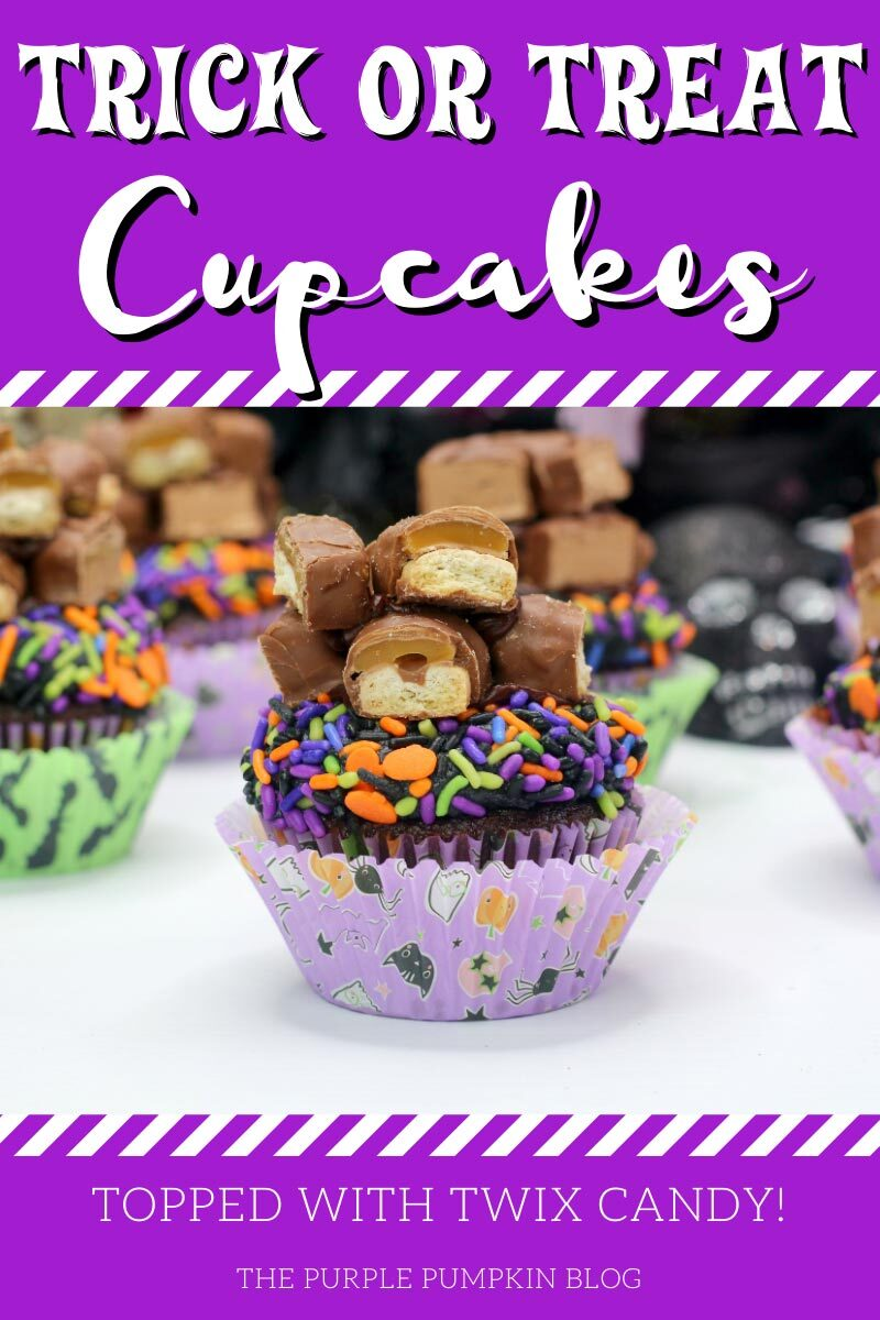 Trick or Treat Cupcakes topped with Twix Candy