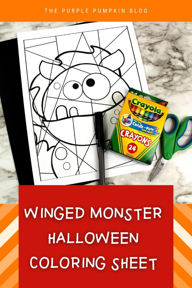 Winged Monster Halloween Coloring Sheet