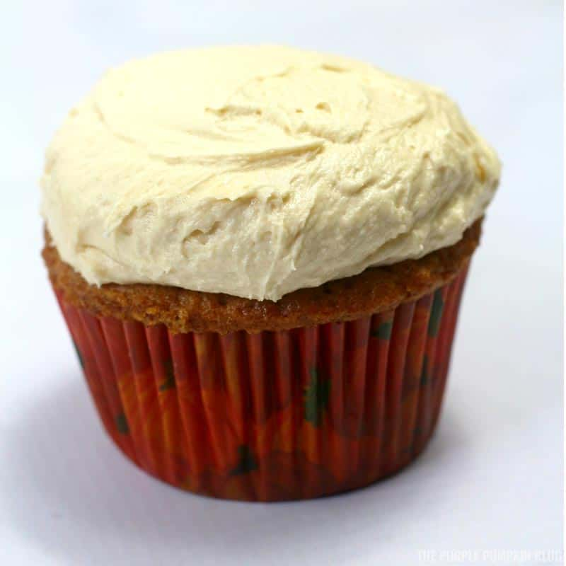 Scooped frosting on cupcake