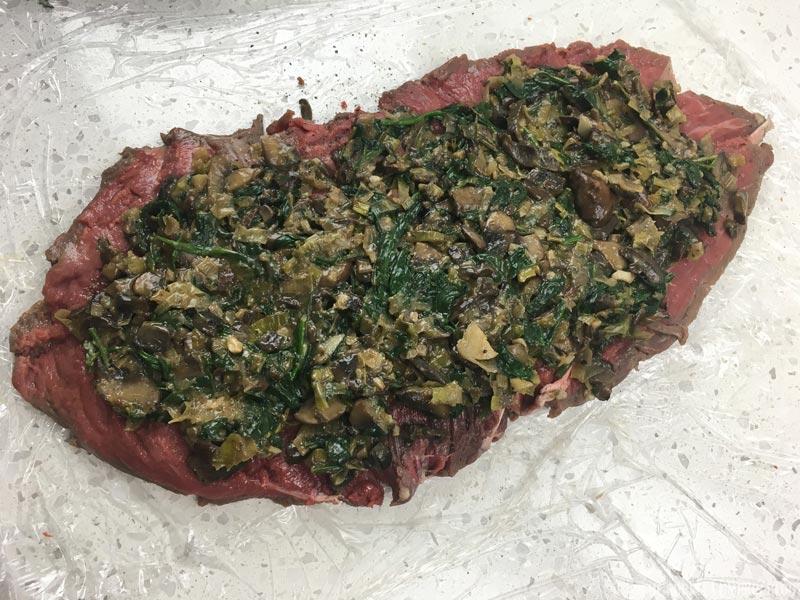 Filling spread on beef tenderloin