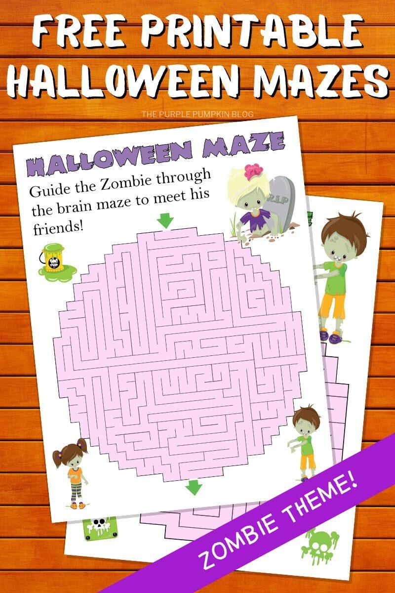 Free Printable Halloween Mazes - Zombie Theme!