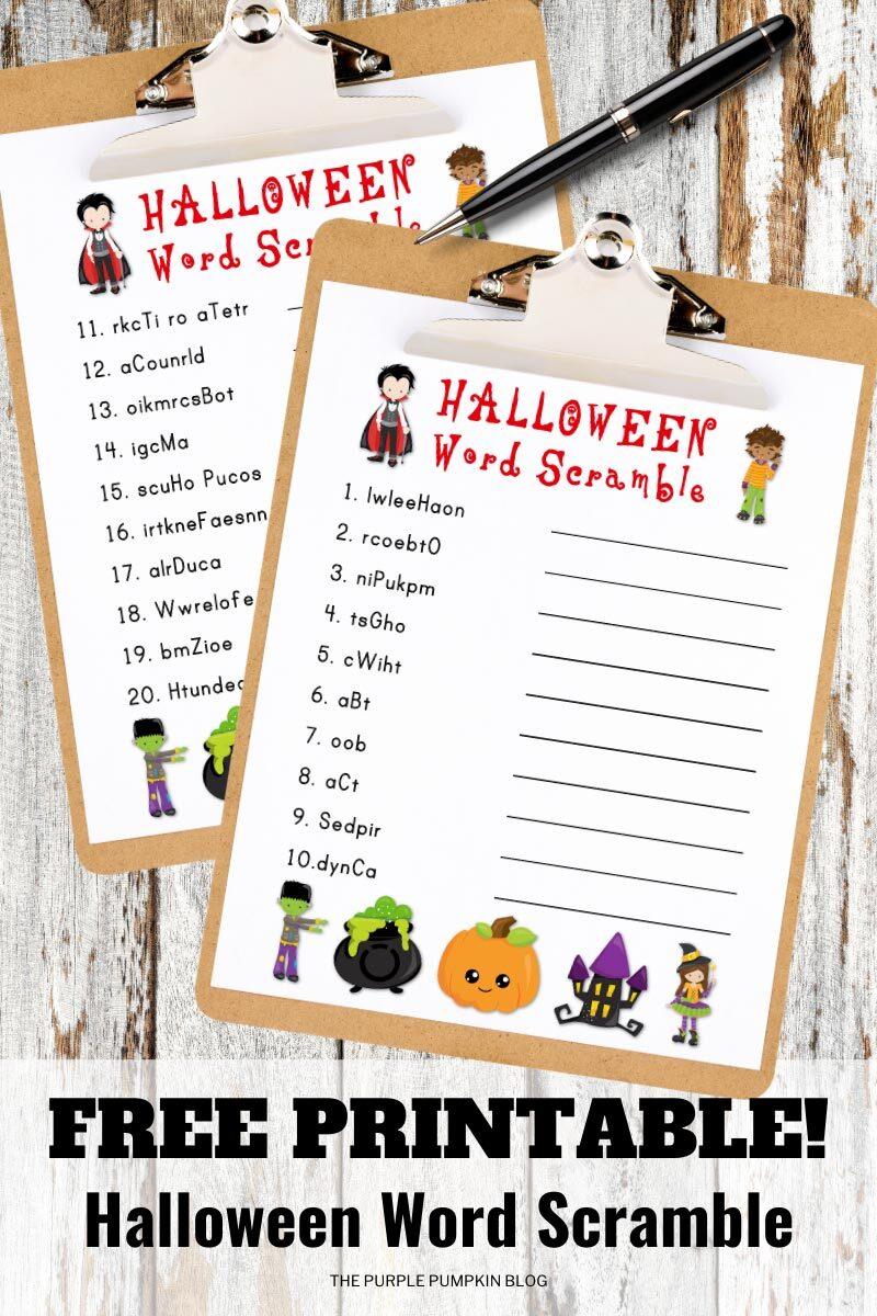 Free Printable Halloween Word Scramble Puzzles