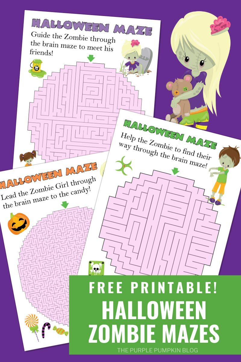 Free Printable Halloween Zombie Mazes