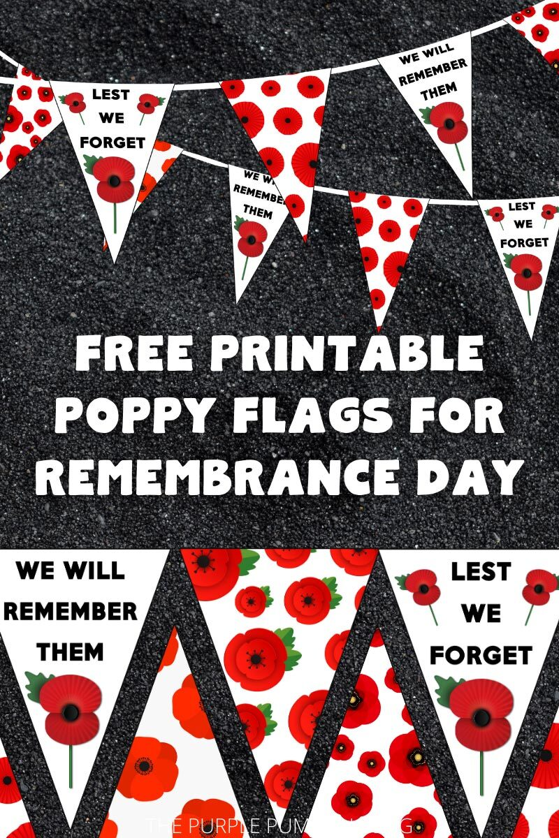 Free Printable Poppy Flags for Remembrance Day