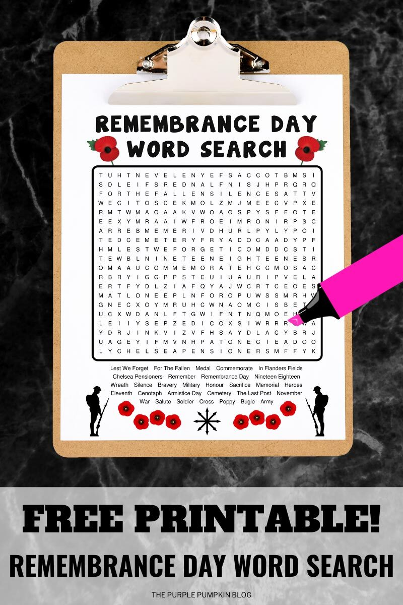 Free Printable Remembrance Day Word Search