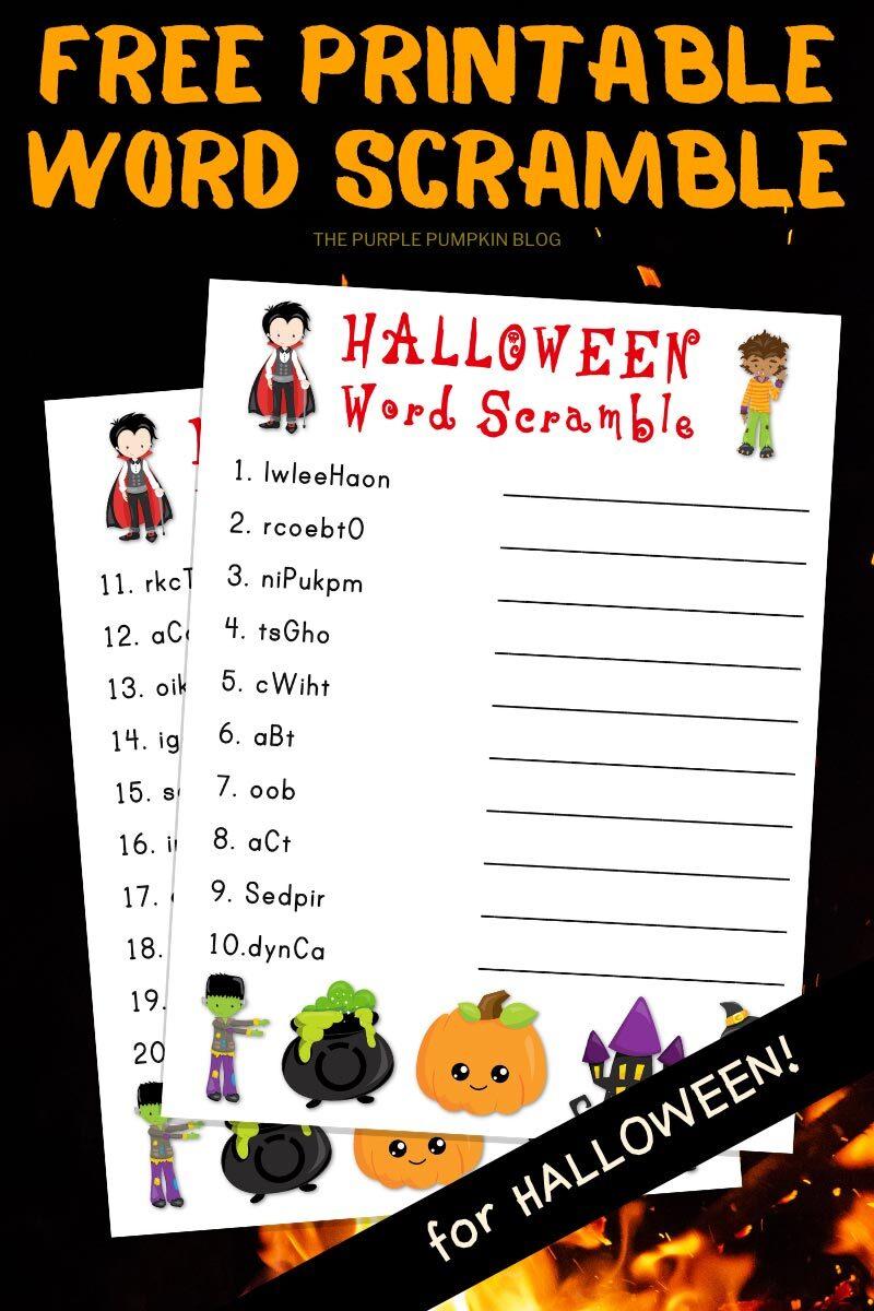 Free Printable Word Scramble for Halloween