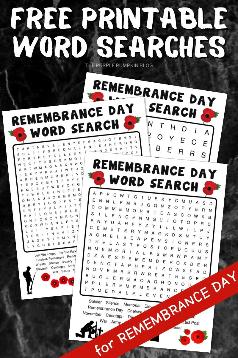 Free Printable Word Searches for Remembrance Day