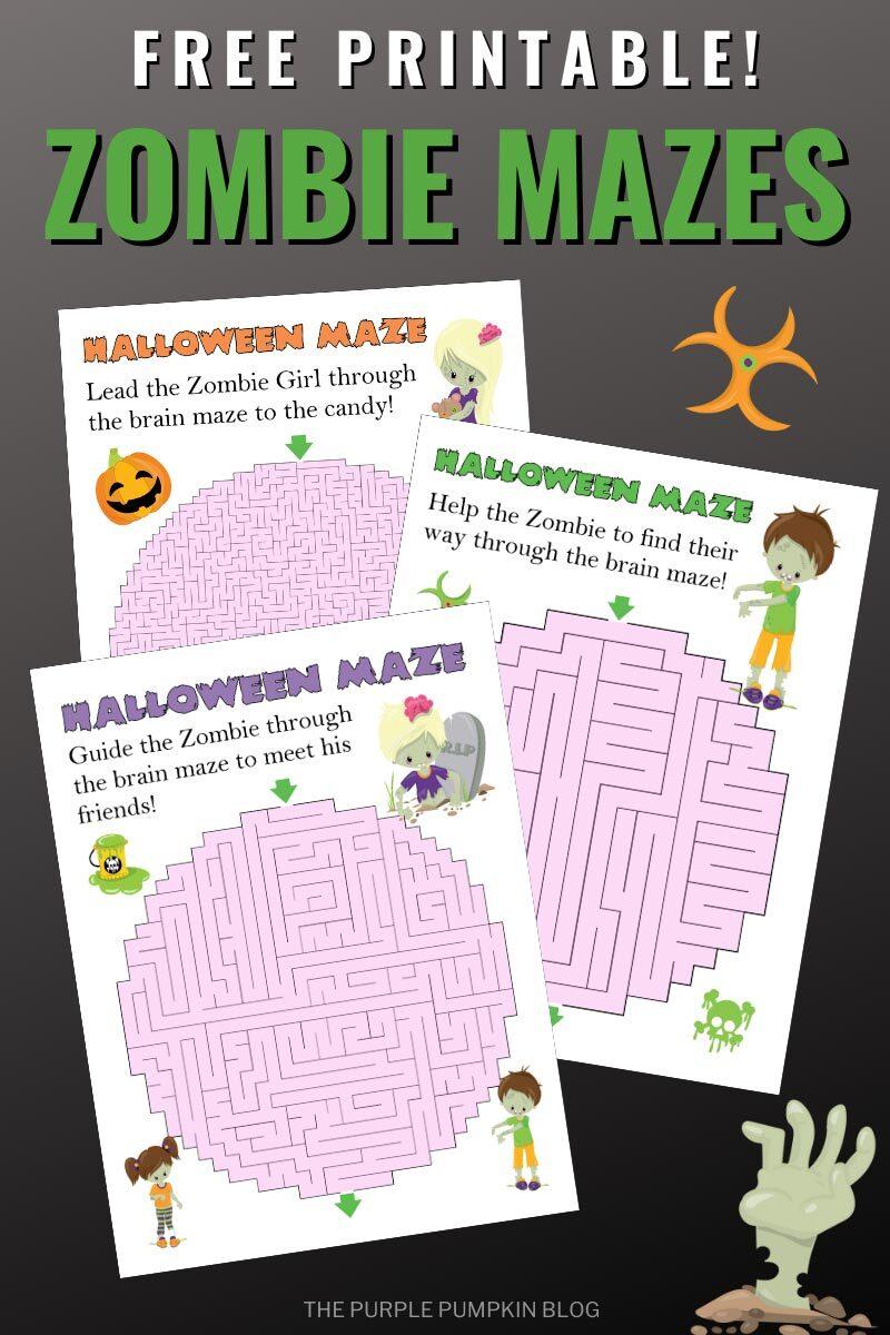 Free Printable Zombie Mazes