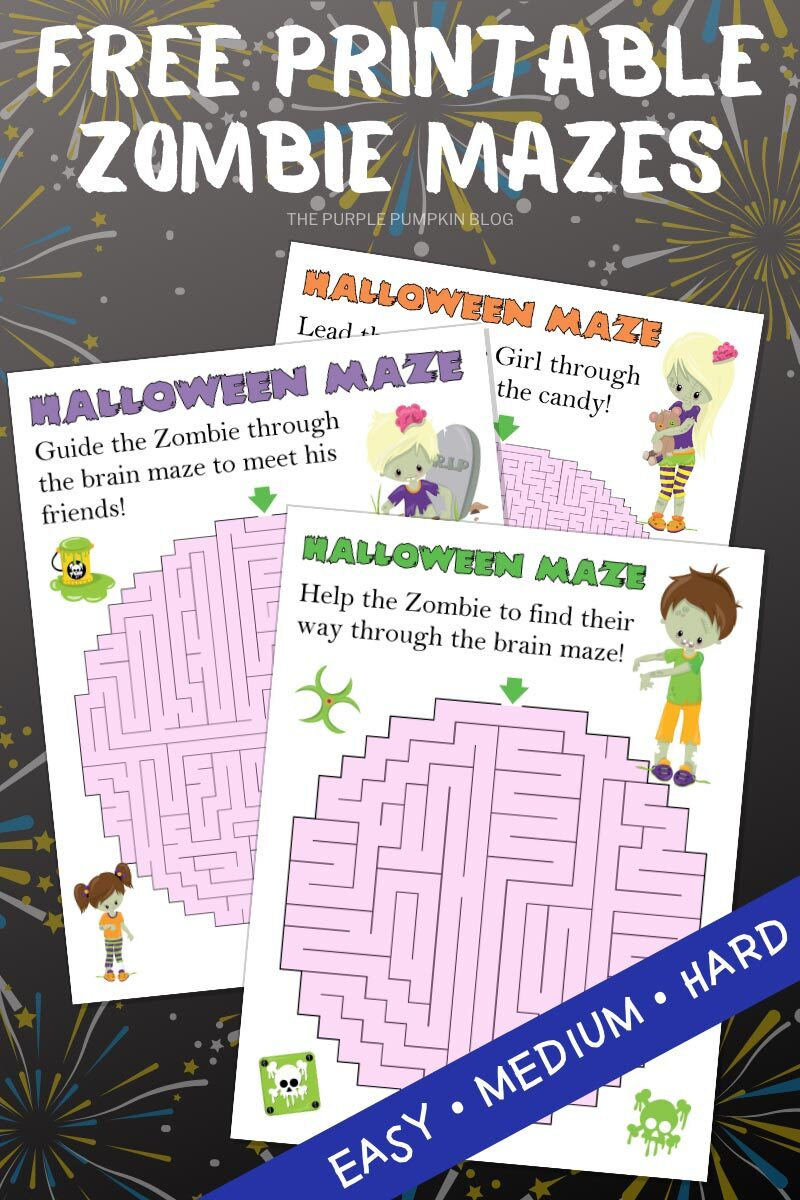 Free Printable Zombie Mazes - Easy, Medium & Hard