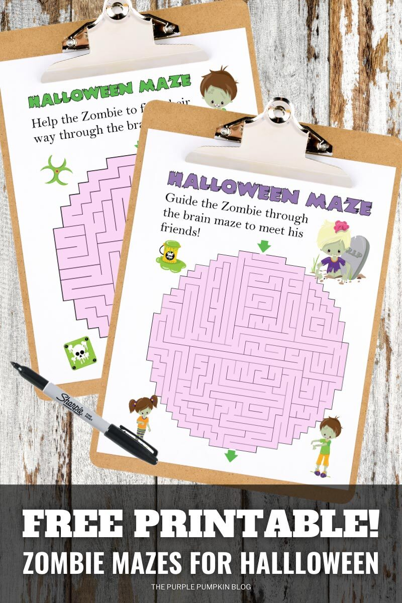 Free Printable Zombie Mazes for Halloween