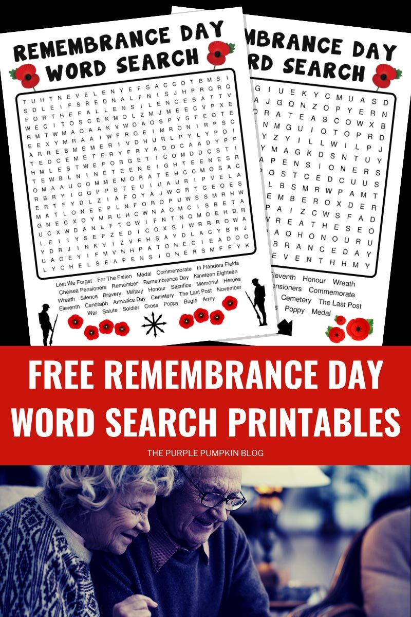 Free Remembrance Day Word Search Printables