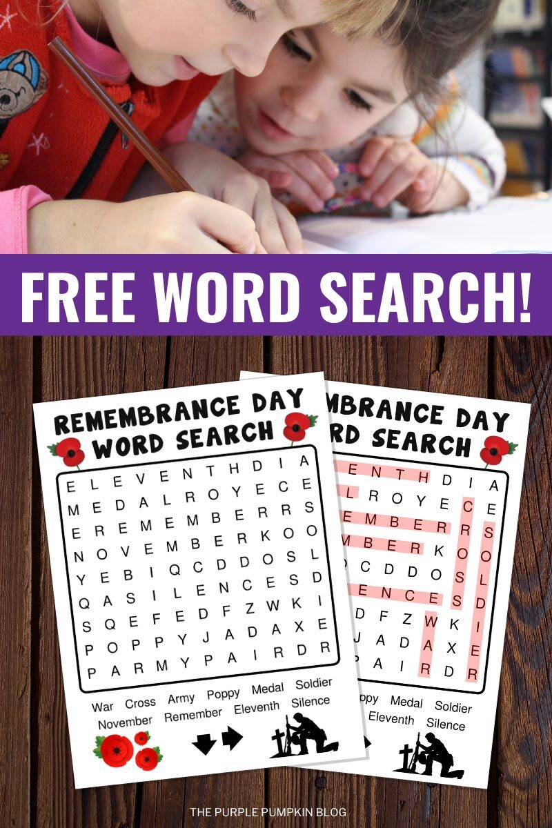 Free Word Search for Remembrance Day