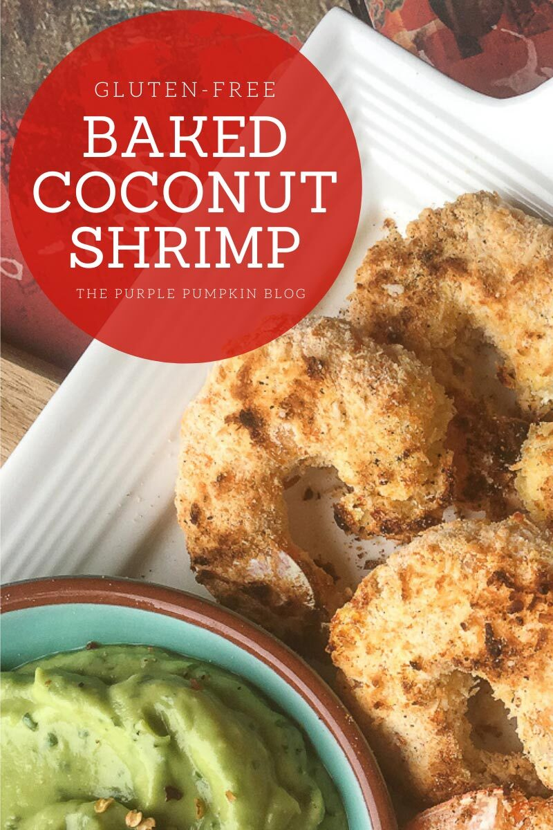 "A plate of baked shrimp with a bowl of avocado-lime dip in the corner. Text overlay says""Gluten-Free Baked Coconut Shrimp"" Similar photos of the recipe/dish from various angles are used throughout and with different text overlay unless otherwise described."
