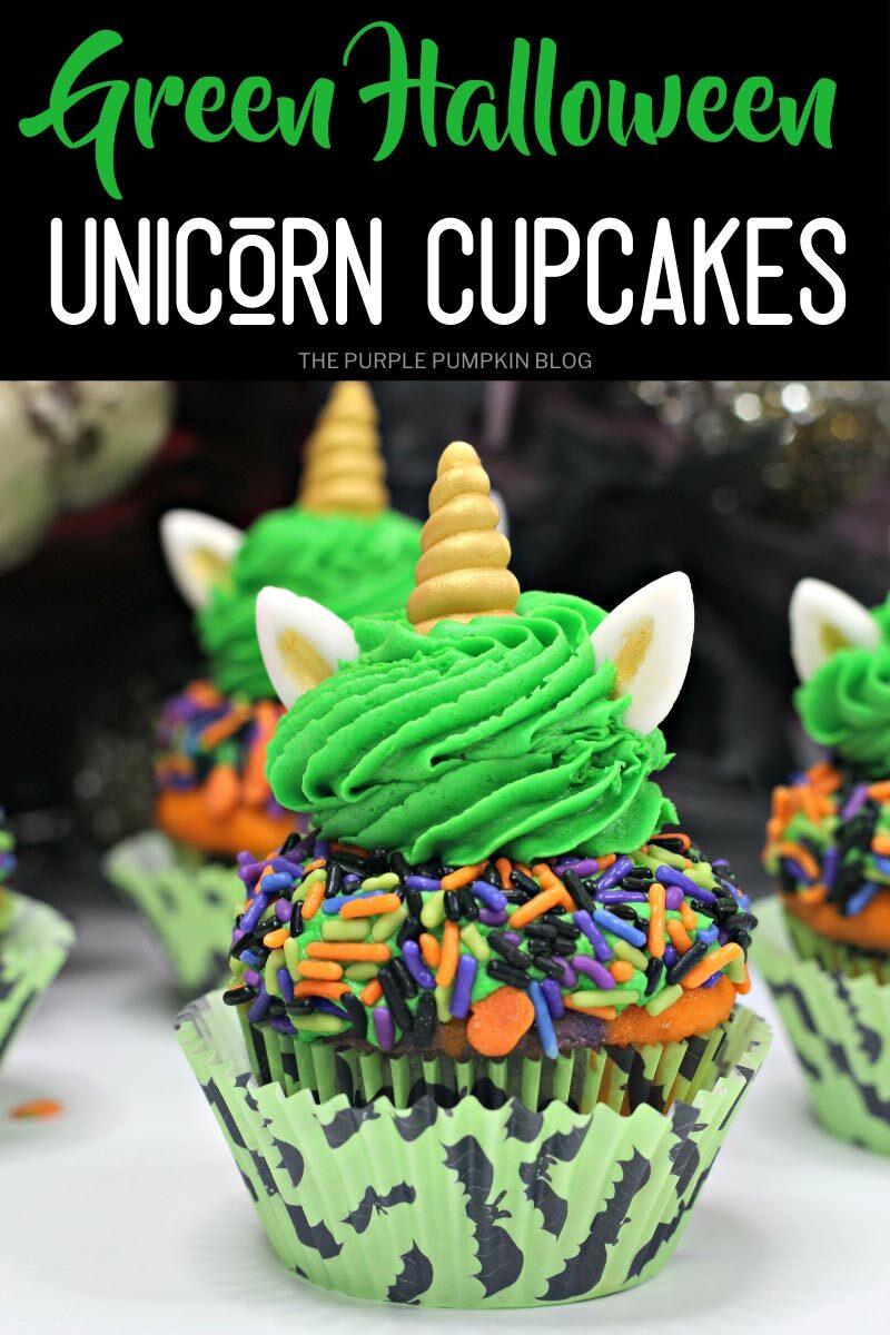 Green Halloween Unicorn Cupcakes