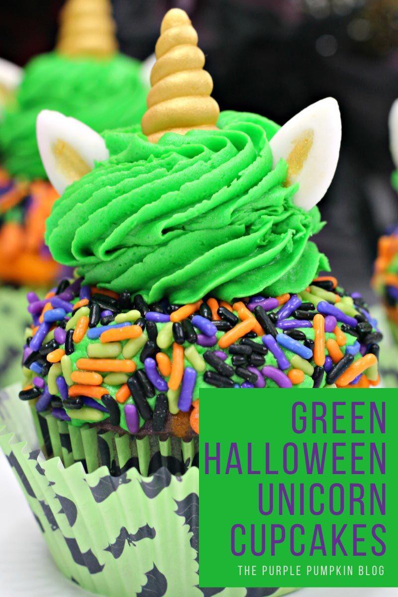 Green Halloween Unicorn Cupcakes Recipe