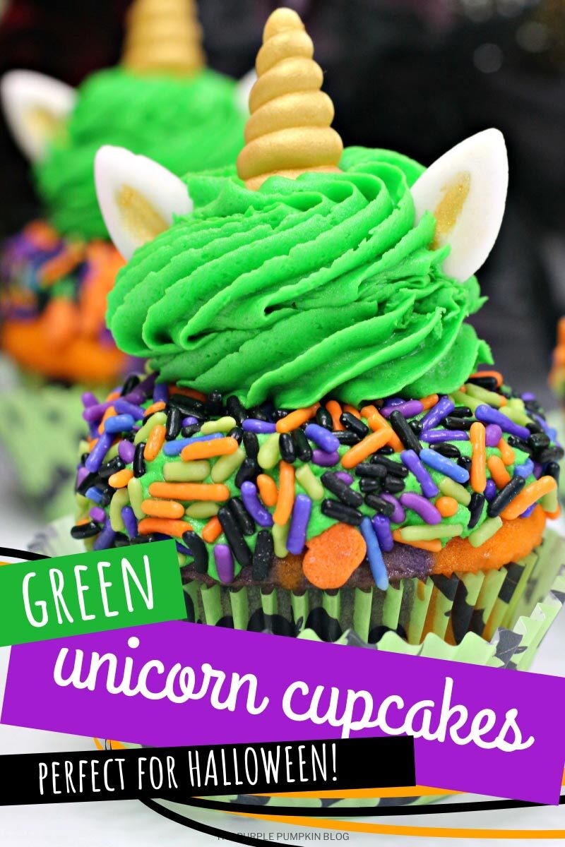Green Unicorn Cupcakes - Perfect for Halloween