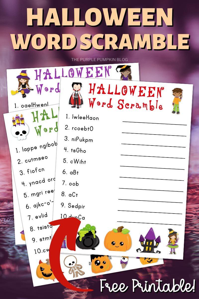 Halloween Word Scramble Free Printable Download