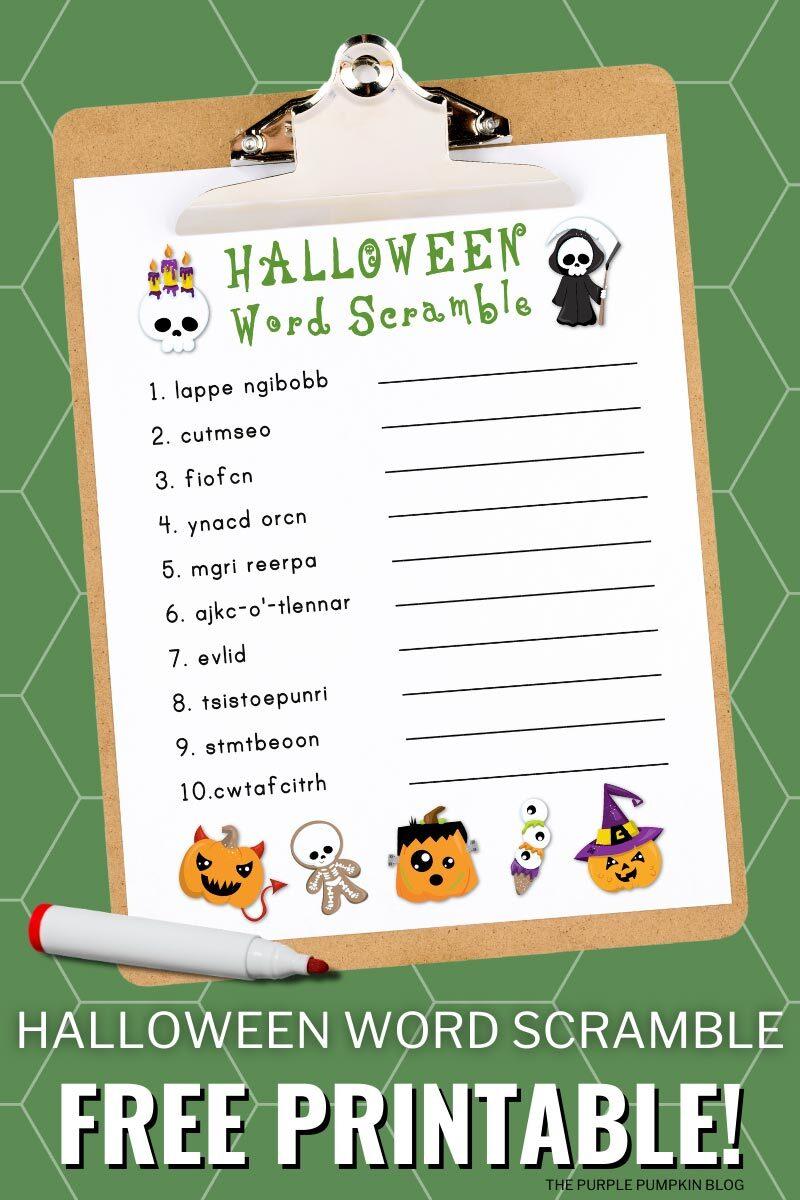 Halloween Word Scramble Free Printable Fun