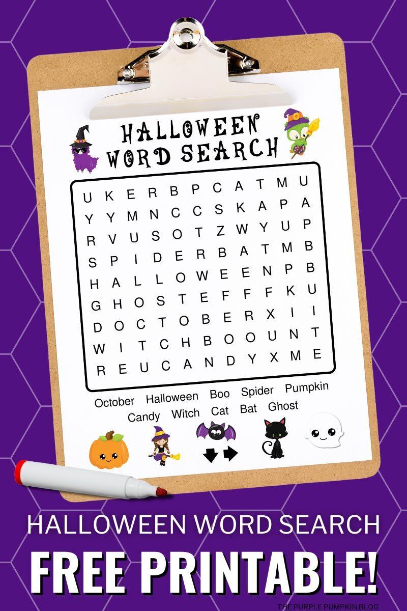 Halloween Word Search Free Printable