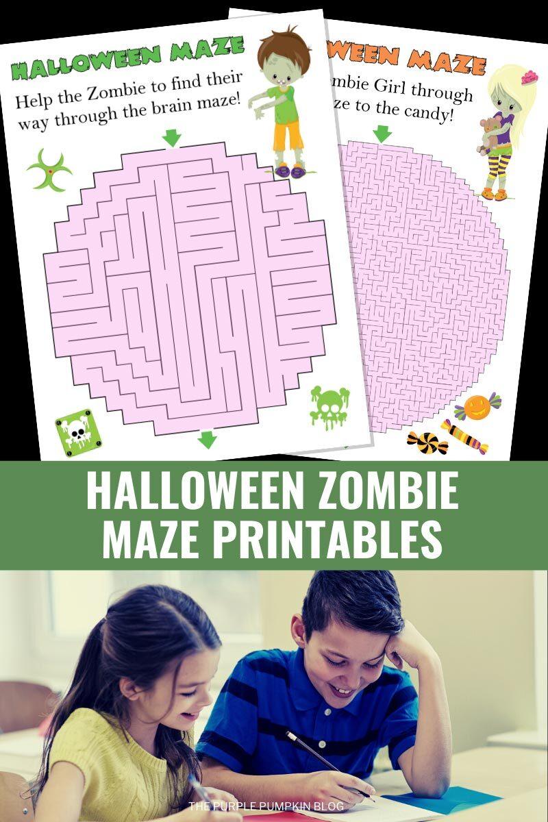 Halloween Zombie Maze Printables