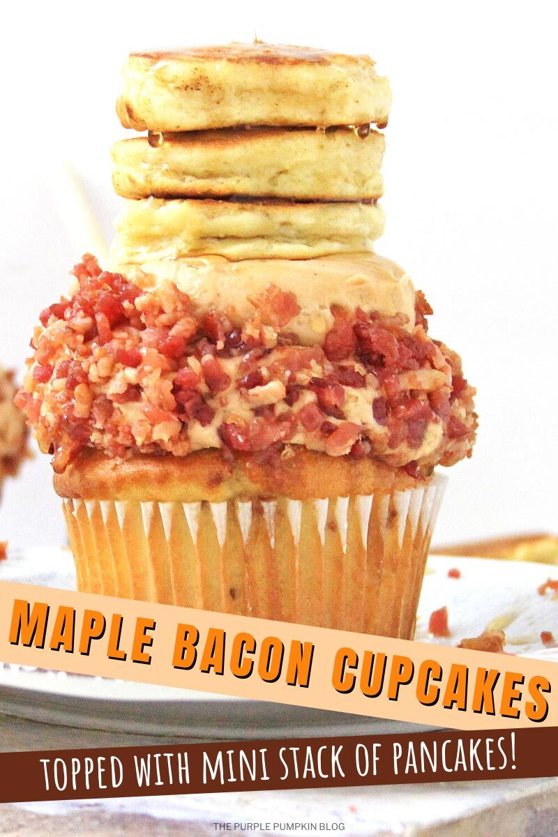 Maple Bacon Cupcakes topped with Mini Stack of Pancakes!
