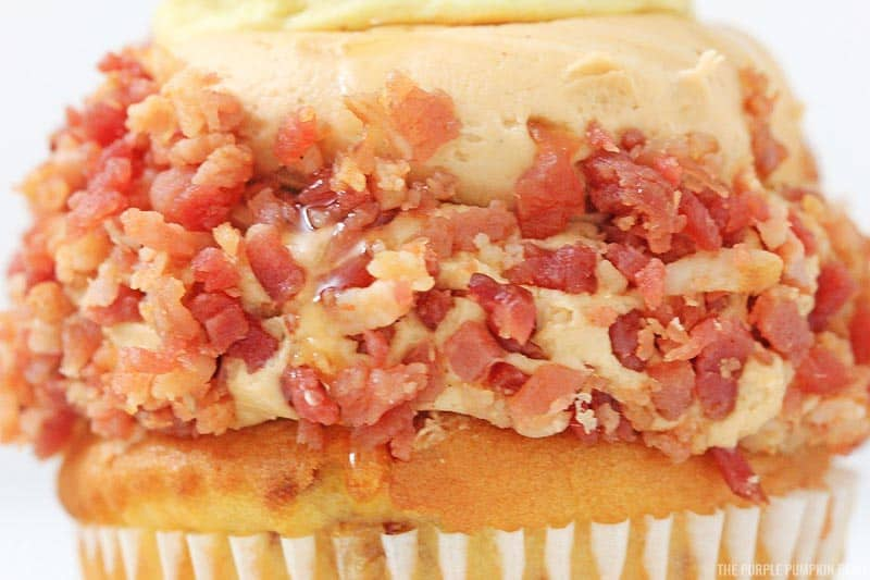 Close up on bacon on frosting