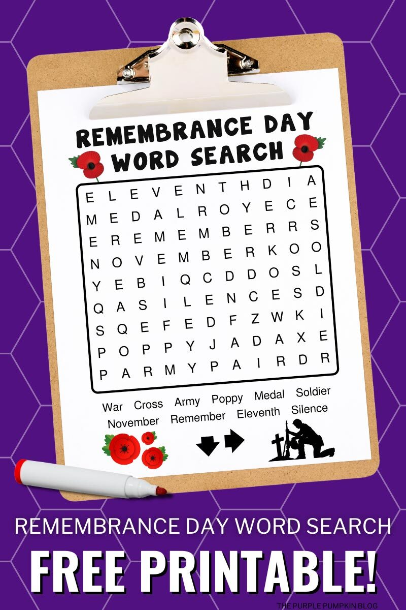 Remembrance Day Word Search Free Printable