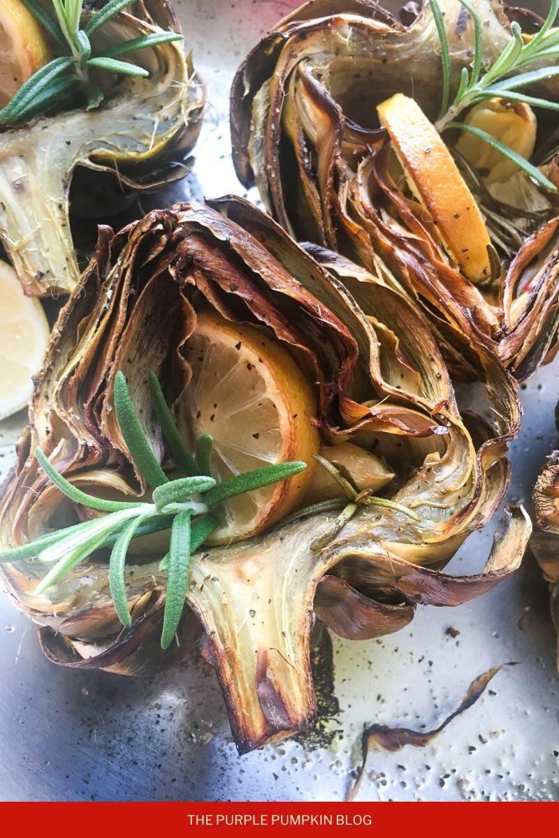 Roasted Artichokes with Lemon & Rosemary