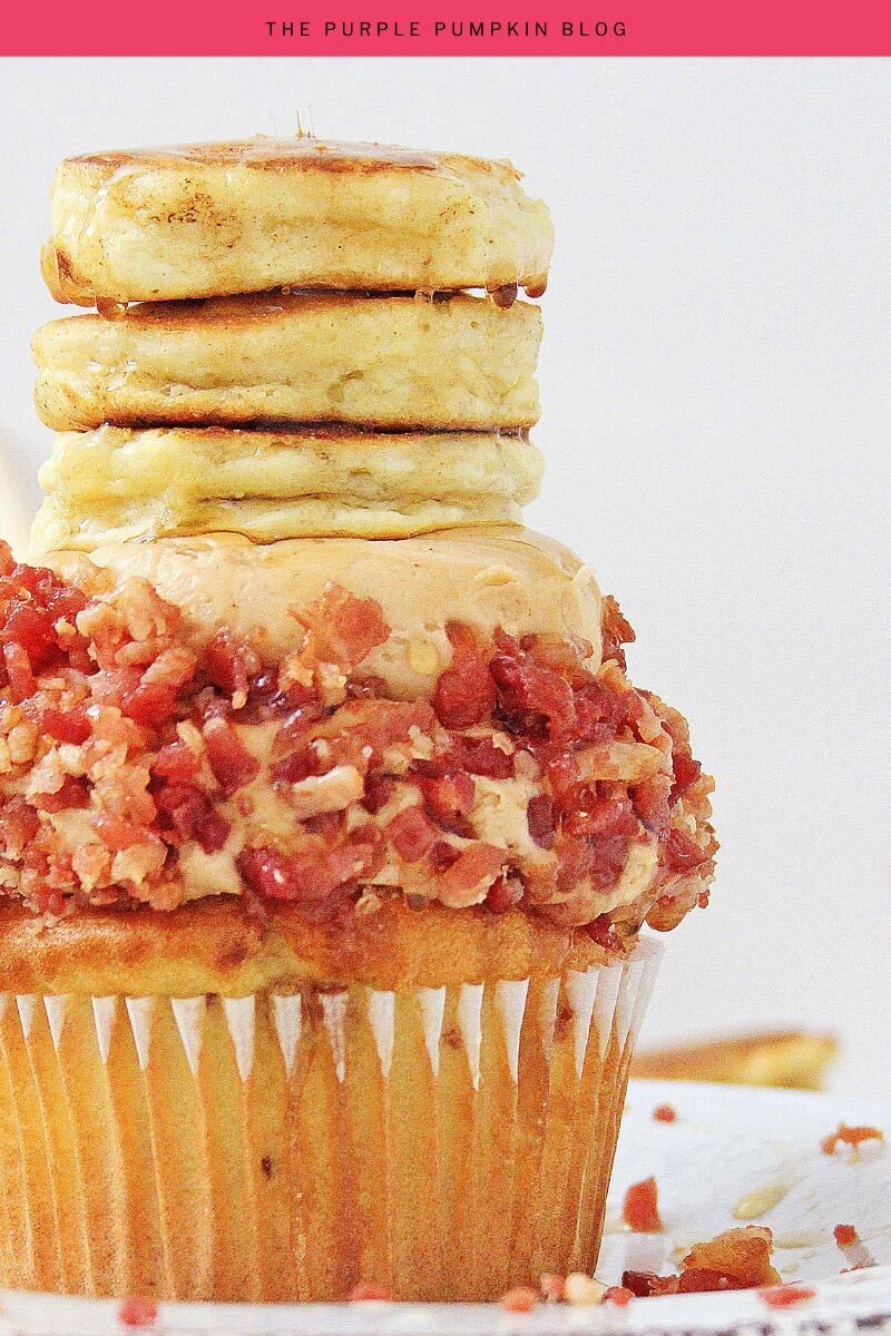 Stack of Pancakes & Syrup Cupcakes with Bacon!