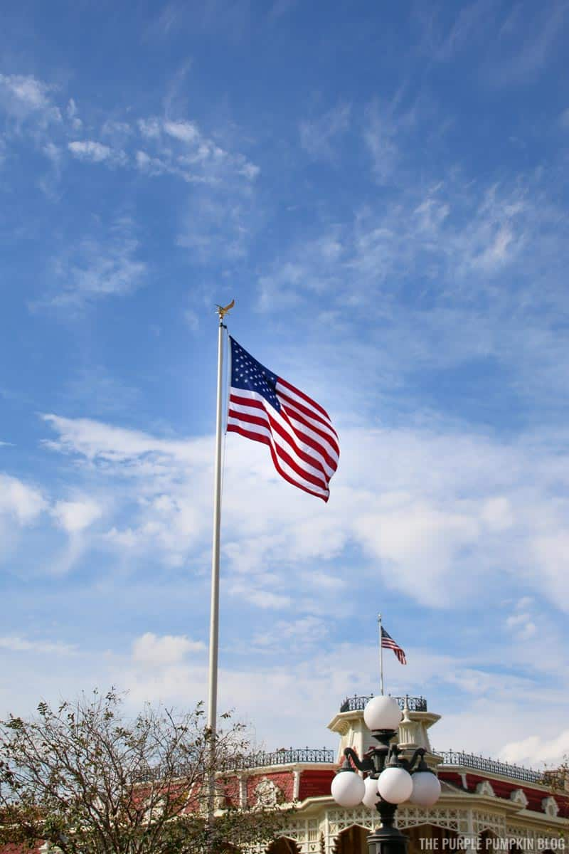 USA Flag on flagpole in Magic Kingdom